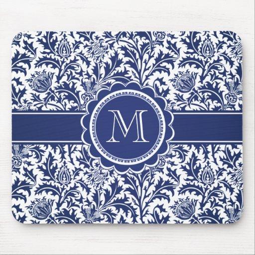 William Morris azul y blanco elegante floral Alfombrilla De Ratones