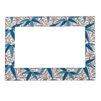 William Morris Bamboo Print, Denim Blue & White Magnetic Frame