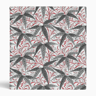 William Morris Bamboo Print, Gray and White Binder