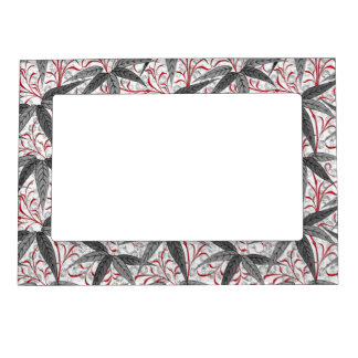 William Morris Bamboo Print, Gray and White Magnetic Picture Frame