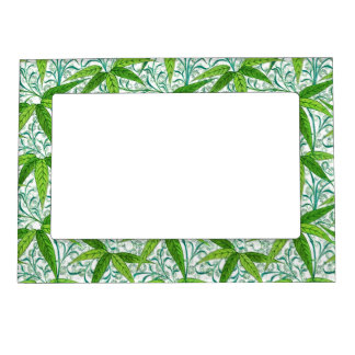 William Morris Bamboo Print, Green and White Magnetic Photo Frame