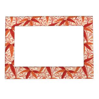 William Morris Bamboo Print, Mandarin Orange Magnetic Picture Frame
