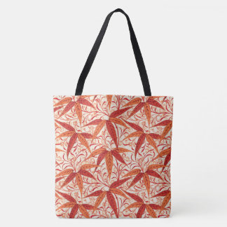 William Morris Bamboo Print, Mandarin Orange Tote Bag