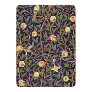 "William Morris Bird And Pomegranate Vintage Art 4.5"" X 6.25"" Invitation Card"