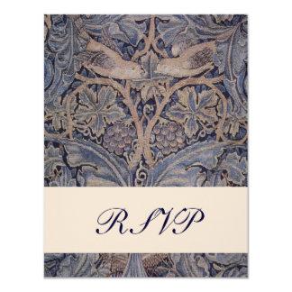 "William Morris Bird Pattern Wedding Reply Cards 4.25"" X 5.5"" Invitation Card"