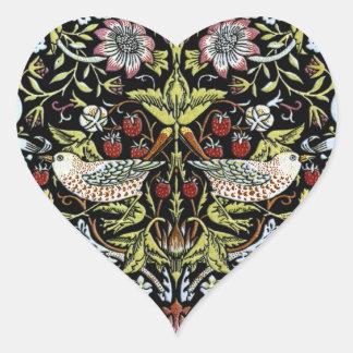 William Morris birds and flowers 2 Heart Sticker