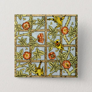 William Morris birds and flowers pattern Button