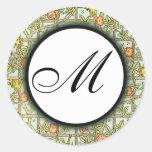 William Morris Birds & Flowers Monogrammed Sticker