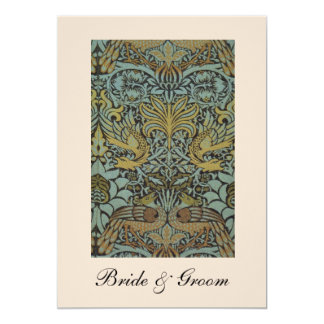 "William Morris Birds Pattern Wedding Invitations 5"" X 7"" Invitation Card"