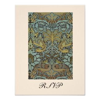 "William Morris Birds Pattern Wedding Reply Cards 4.25"" X 5.5"" Invitation Card"