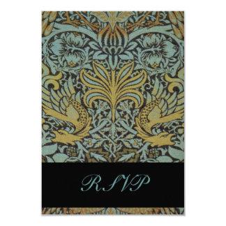 """William Morris Birds Reply Cards for Square Invite 3.5"""" X 5"""" Invitation Card"""