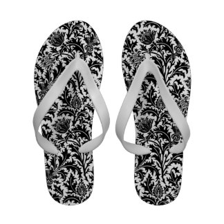 William Morris Black and White Thistle Pattern Flip Flops