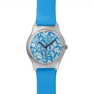 William Morris Blue and White Thistle Pattern Wristwatch