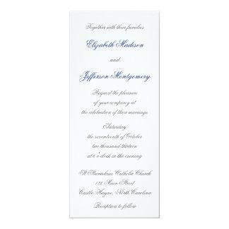 "William Morris Blue Leaves Wedding Invitation 4"" X 9.25"" Invitation Card"