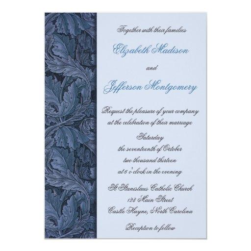 William Morris Blue Leaves Wedding Invitation