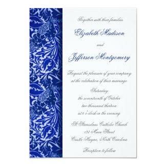 "William Morris Blue Leaves Wedding Invitation 5"" X 7"" Invitation Card"