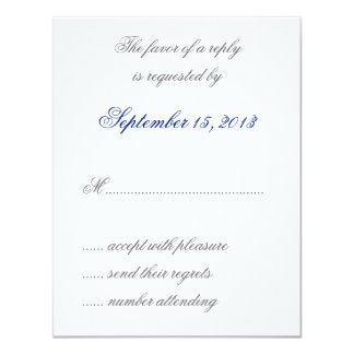 "William Morris Blue Leaves Wedding RSVP Cards 4.25"" X 5.5"" Invitation Card"