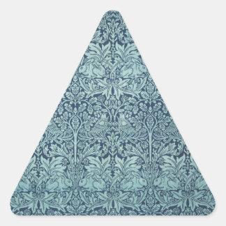 William Morris Blue Rabbit and Plants Triangle Sticker