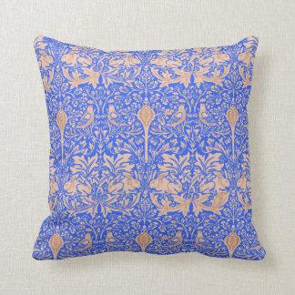 William Morris Blue Tan Rabbits Patterned Damask Pillow