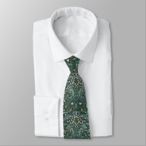 William Morris Blue White & Green Floral Tie