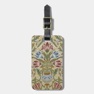 William Morris Brocade Floral Pattern Travel Bag Tags