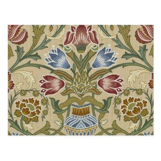William Morris Brocade Floral Pattern Postcard