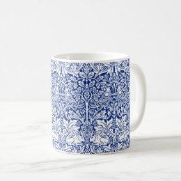 William Morris Brother Rabbit Blue Vintage Pattern Coffee Mug