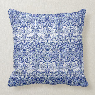 William Morris Brother Rabbit Blue Vintage Pattern Throw Pillow