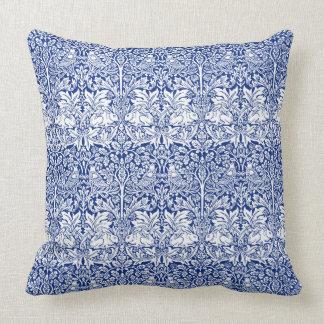 William Morris Brother Rabbit Blue Vintage Pattern Throw Pillow