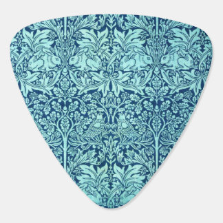 William Morris Brother Rabbit Pattern in Blue Guitar Pick