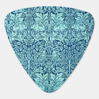 William Morris Brother Rabbit Pattern In Blue Guitar Pick by wmorrispatterns at Zazzle