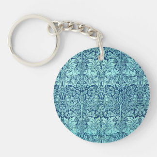 William Morris Brother Rabbit Pattern in Blue Single-Sided Round Acrylic Keychain