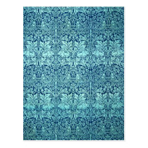 William Morris Brother Rabbit Pattern in Blue Postcard