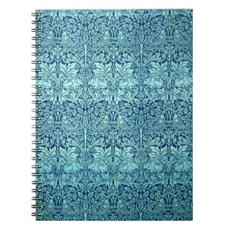 William Morris Brother Rabbit Pattern in Blue Spiral Note Books