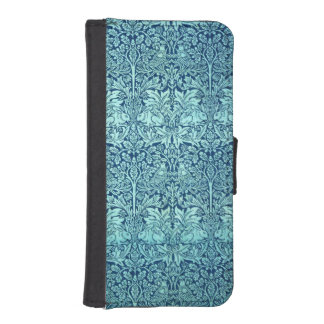 William Morris Brother Rabbit Pattern in Blue Wallet Phone Case For iPhone SE/5/5s