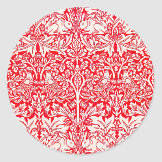 WIlliam Morris Brother Rabbit Pattern in Red Classic Round Sticker