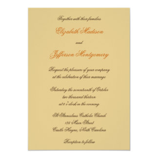 "William Morris Brown Leaves Wedding Invitation 5"" X 7"" Invitation Card"
