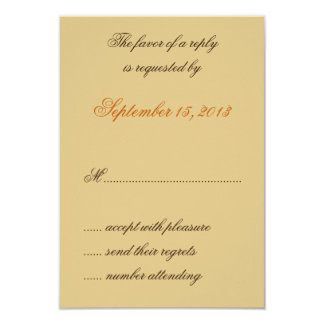 "William Morris Brown Leaves Wedding RSVP Cards 3.5"" X 5"" Invitation Card"