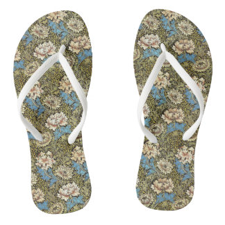 William Morris Chrysanthemum Design Flip Flops