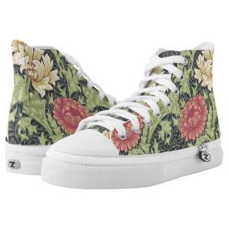 William Morris Chrysanthemum Vintage Floral Art Printed Shoes