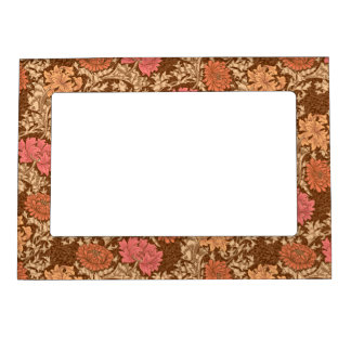 William Morris Chrysanthemums, Brown and Rust Magnetic Picture Frame