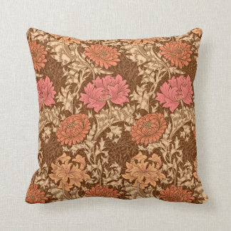 William Morris Chrysanthemums, Brown and Rust Throw Pillow