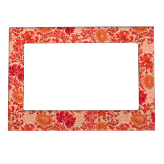 William Morris Chrysanthemums, Coral Orange Magnetic Frame