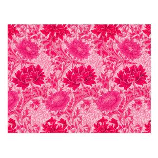 William Morris Chrysanthemums, Fuchsia Pink Postcard
