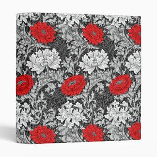 William Morris Chrysanthemums, Gray and Red Binder