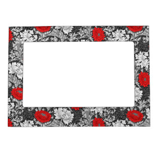 William Morris Chrysanthemums, Gray and Red Magnetic Frame