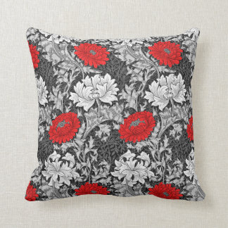 William Morris Chrysanthemums, Gray and Red Throw Pillow
