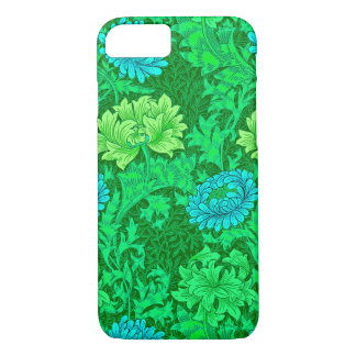 William Morris Chrysanthemums, Lime Green & Aqua iPhone 7 Case