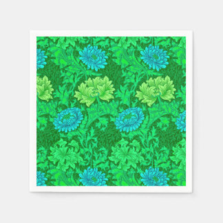William Morris Chrysanthemums, Lime Green & Aqua Napkin