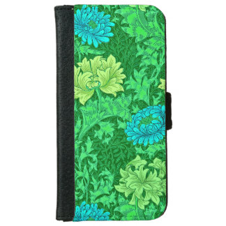 William Morris Chrysanthemums, Lime Green & Aqua Wallet Phone Case For iPhone 6/6s